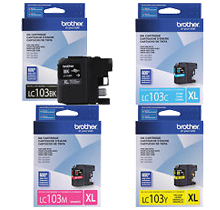 ~Brand New Original  BROTHER LC103 INK / INKJET Cartridge Set Black Cyan Magenta Yellow High Yield