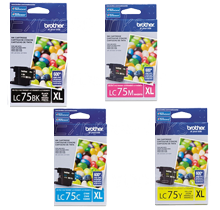 ~Brand New Original BROTHER LC75 High Yield INK / INKJET Cartridge SET Black Cyan Magenta Yellow