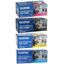 ~Brand New Original BROTHER TN115 Laser Toner Cartridge Set Black Cyan Yellow Magenta High Yield