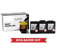 HP DT-65XL-3BK Eco-Saver Black Ink Cartridge High Yield 3PK Combo (The 1st Cartridge in the Printhead Already)  IMPORTANT!! Please DON'T upgrade any printer firmware to avoid chip issues.