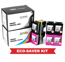 HP DT-65XL Combo Set Eco-Saver Ink Cartridge 6PK Combo High Yield  (The 1st Cartridge in the Printhead Already) IMPORTANT!! Please DON'T upgrade any printer firmware to avoid chip issues.