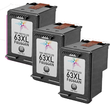 HP HPDT-63XL-3BK Eco-Saver Black Ink Cartridge High Yield 3PK Combo (The 1st Cartridge in the Printhead Already) IMPORTANT!! Please DON'T upgrade any printer firmware to avoid chip issues.
