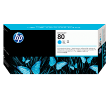 ~Brand New Original HP C4821A (HP 80) Printhead and Printhead Cleaner Cyan
