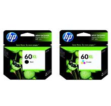 ~Brand New Original HP CC641WN / CC644WN HP 60XL Black Tri-Color High Yield Ink Cartridge Combo Pack