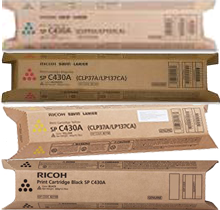 ~Brand New Original RICOH SPC430 / SPC431 Laser Toner Cartridge Set Black Cyan Magenta Yellow