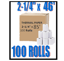 Thermal Paper Rolls 2-1/4 x 85 100/Pack (1 Box)