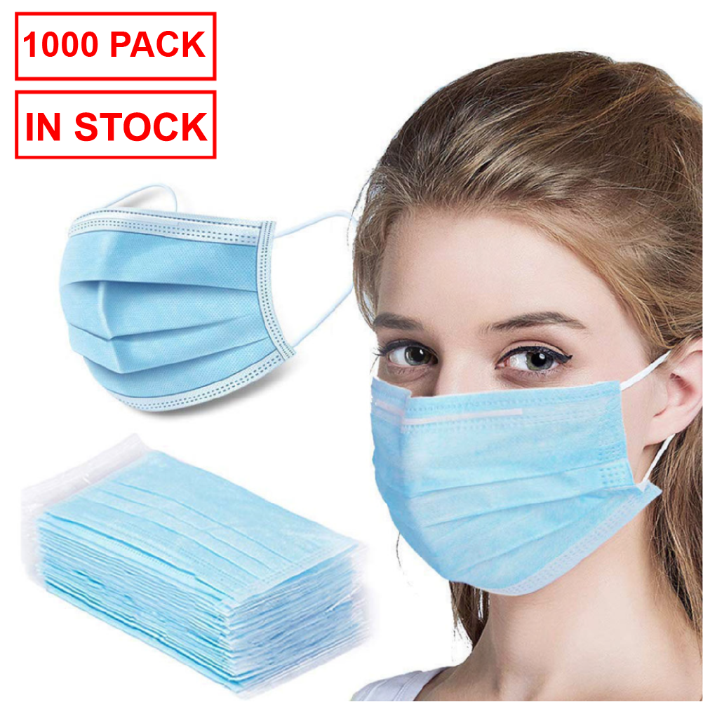 1000 Pack Disposable Face Mask Safety, 3-Ply Ear Loop (20 x packs of 50)