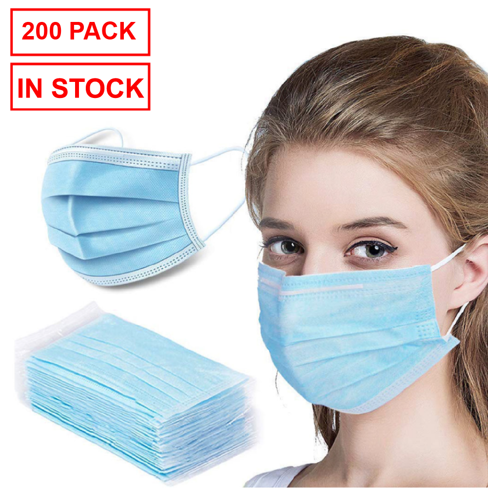 Ships from Canada - 200 Pack Disposable Face Mask Safety, 3-Ply Ear Loop -Ships from Canada - in Stock