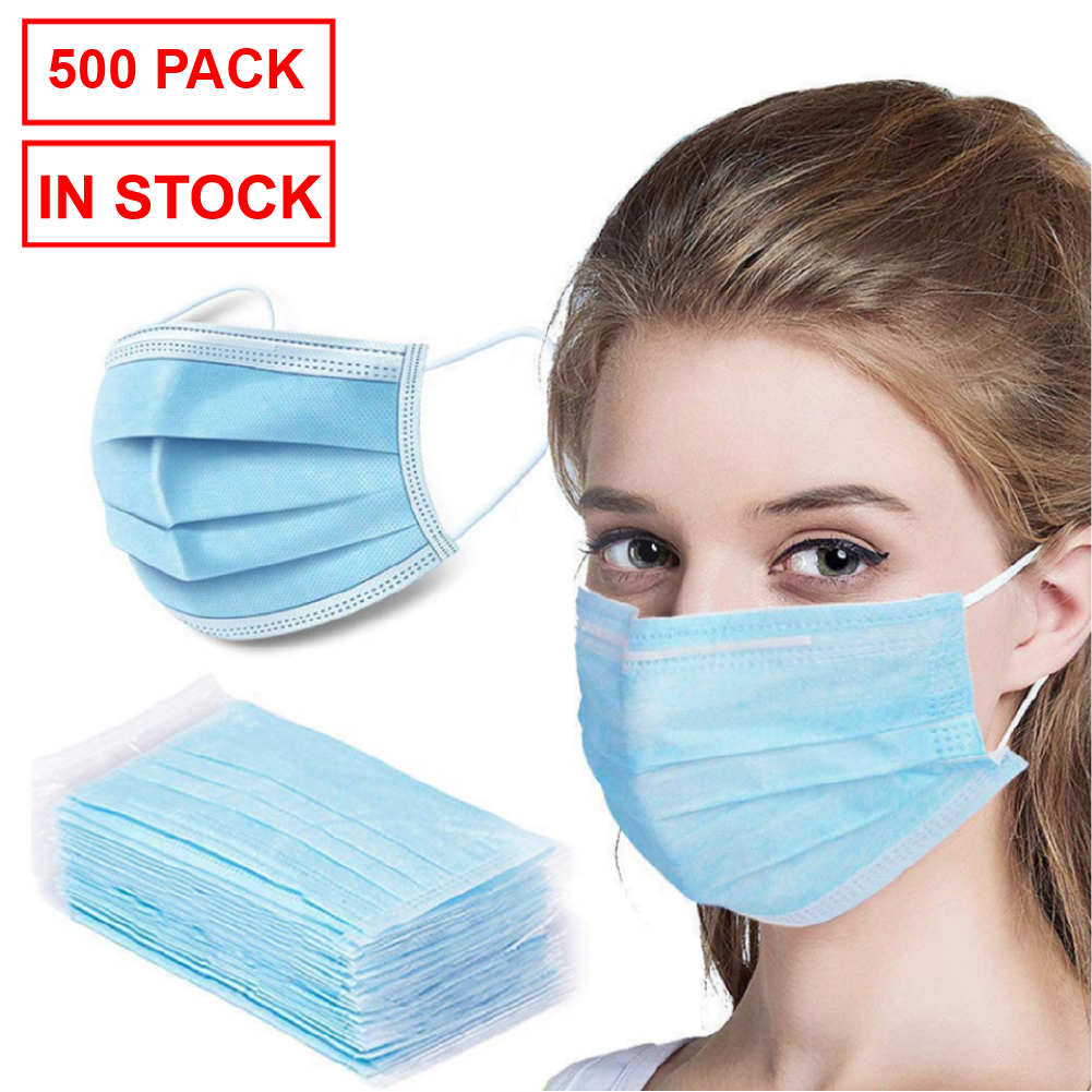 500 Pack Disposable Face Mask Safety, 3-Ply Ear Loop (10 x 50 packs)