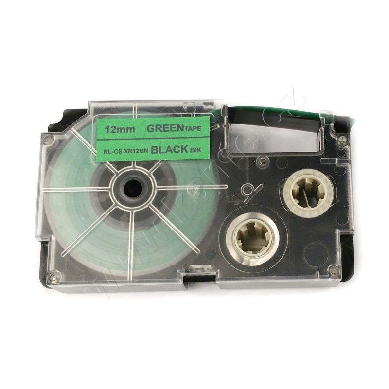 "Casio Black on Green Cassette Label Tape 12MM / 1/2"" - 8M / 26'"