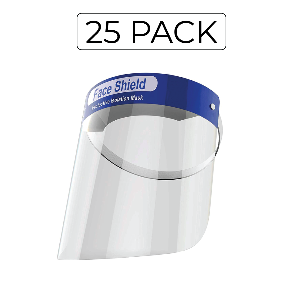 25 Pack Transparent protective Safety Face Shield