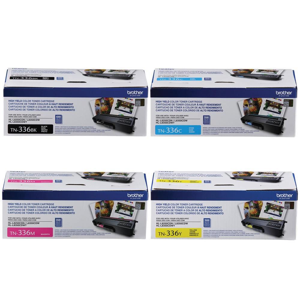 ~Brand New Original BROTHER TN336 Laser Toner Cartridge SET Black Yellow Magenta Cyan