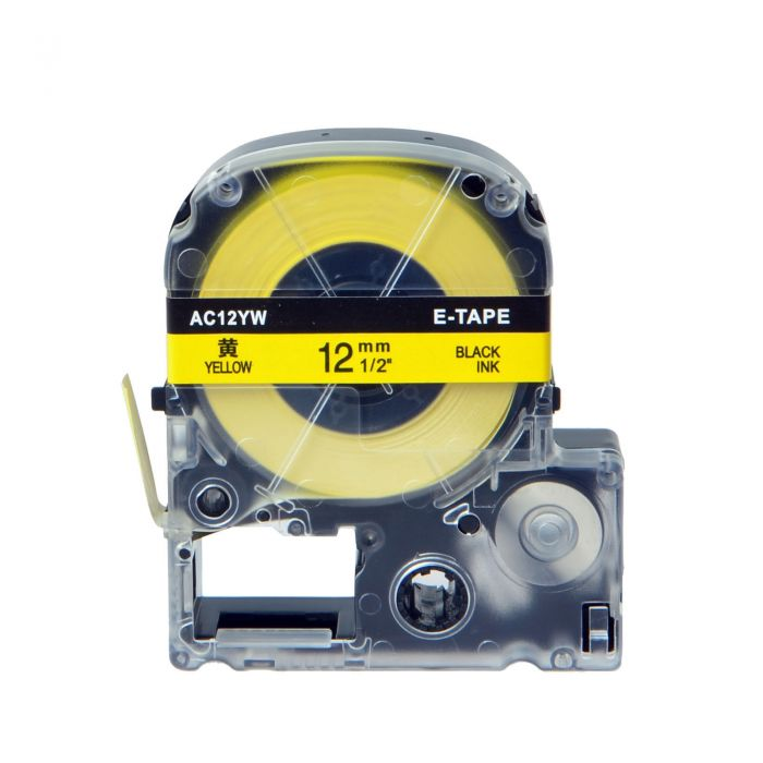 "Epson LC-4YBP 12MM 1/2"" Black on Yellow Cassette Label 8M / 26.2FT"